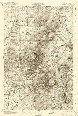Digital Art - 1894 Lake Placid Geological Survey Map Adirondacks Sepia by Toby McGuire