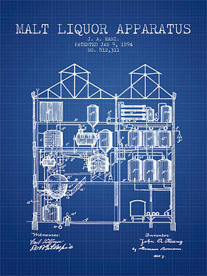 Beer Royalty-Free and Rights-Managed Images - 1894 Malt Liquor Apparatus patent - Blueprint by Aged Pixel