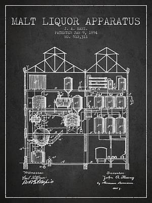 Beer Digital Art - 1894 Malt Liquor Apparatus patent - Charcoal by Aged Pixel