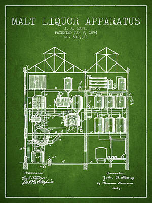 Liquor Digital Art - 1894 Malt Liquor Apparatus Patent - Green by Aged Pixel