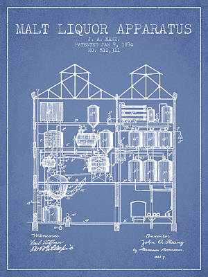 Beer Royalty-Free and Rights-Managed Images - 1894 Malt Liquor Apparatus patent - Light Blue by Aged Pixel