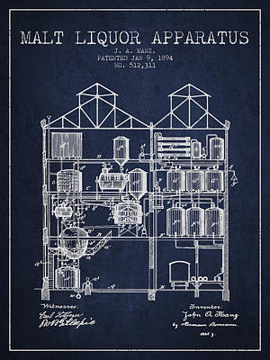 Beer Royalty-Free and Rights-Managed Images - 1894 Malt Liquor Apparatus patent - Navy Blue by Aged Pixel