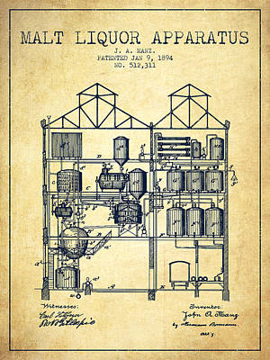 Liquor Digital Art - 1894 Malt Liquor Apparatus Patent - Vintage by Aged Pixel