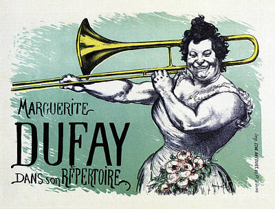 Musicians Drawings - 1894 Marguerite Dufay on trombone by Aapshop