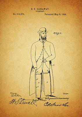 Trench Mixed Media - 1894 Overcoat Patent by Dan Sproul