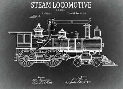 Transportation Drawings - 1894 Steam Locomotive Blueprint by Dan Sproul