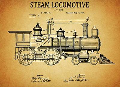 Passengers Mixed Media - 1894 Steam Locomotive Patent by Dan Sproul