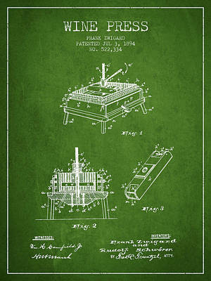 1894 Wine Press Patent - Green Art Print by Aged Pixel