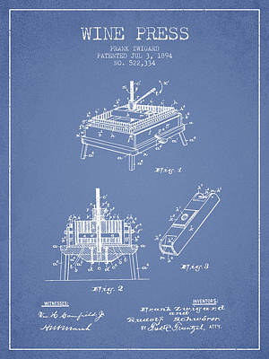 Red Wine Drawing - 1894 Wine Press Patent - Light Blue by Aged Pixel