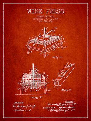 1894 Wine Press Patent - Red Art Print by Aged Pixel