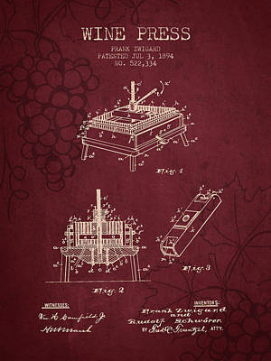 1894 Wine Press Patent - Red Wine Art Print by Aged Pixel