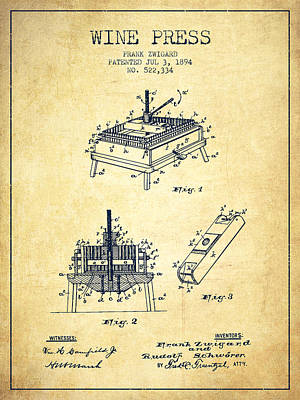 Red Wine Drawing - 1894 Wine Press Patent - Vintage by Aged Pixel