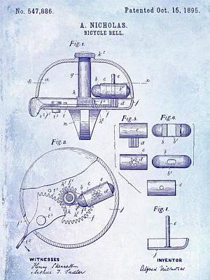 Schwinn Wall Art - Digital Art - 1895 Bicycle Bell Patent Blueprint by Jon Neidert