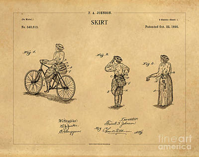 Quirky Drawing - 1895 Convertible Bicycle Skirt Patent 1 by Nishanth Gopinathan