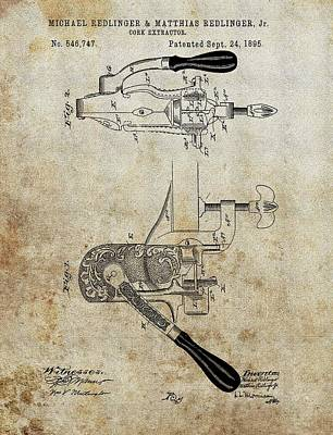 Vino Mixed Media - 1895 Cork Extractor Patent by Dan Sproul