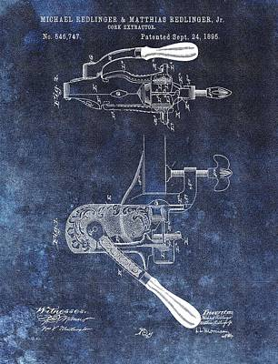 Vino Mixed Media - 1895 Corkscrew Patent by Dan Sproul