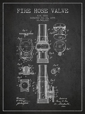 Helmet Digital Art - 1895 Fire Hose Valve Patent - Charcoal by Aged Pixel