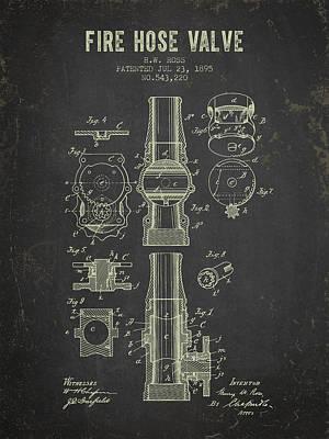 Gear Digital Art - 1895 Fire Hose Valve Patent- Dark Grunge by Aged Pixel