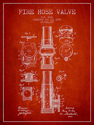 Helmet Digital Art - 1895 Fire Hose Valve Patent - Red by Aged Pixel
