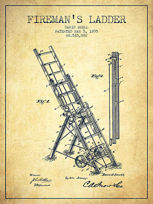 Technical Digital Art - 1895 Firemans Ladder Patent - Vintage by Aged Pixel