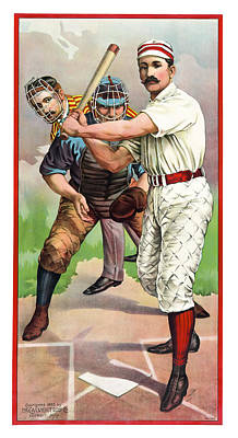 1895 In The Batters Box Print by Daniel Hagerman