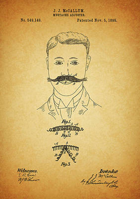 Mixed Media - 1895 Mustache Adjuster Patent by Dan Sproul