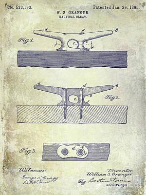 1895 Nautical Cleat Patent Print by Jon Neidert