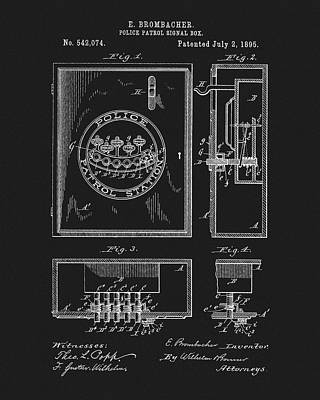 Mixed Media - 1895 Police Patrol Box Patent by Dan Sproul