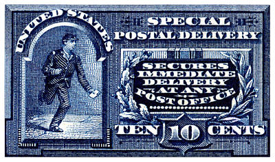 Painting - 1895 Special Delivery Stamp by Historic Image