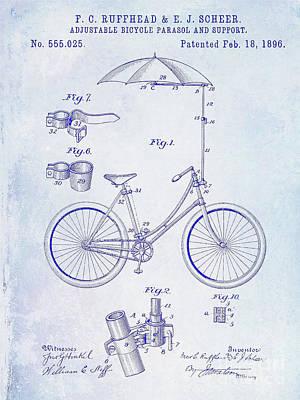 Schwinn Wall Art - Photograph - 1896 Bicycle Patent Blueprint by Jon Neidert