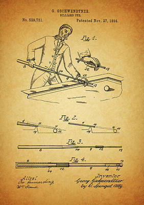 Mixed Media - 1894 Billiards Cue Patent by Dan Sproul