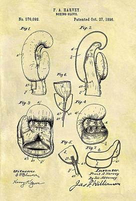 Punching Mixed Media - 1896 Boxing Gloves Patent by Dan Sproul