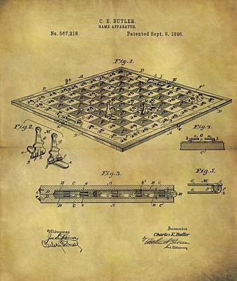 Knight Mixed Media - 1896 Chess Set Patent by Dan Sproul