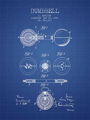1896 Dumbbell Patent Spbb03_bp Art Print by Aged Pixel