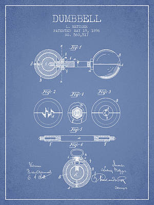 Weightlifting Wall Art - Photograph - 1896 Dumbbell Patent Spbb03_lb by Aged Pixel