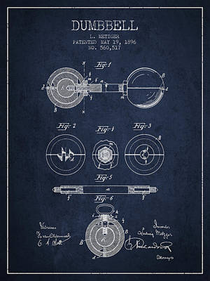 Weightlifting Wall Art - Digital Art - 1896 Dumbbell Patent Spbb03_nb by Aged Pixel
