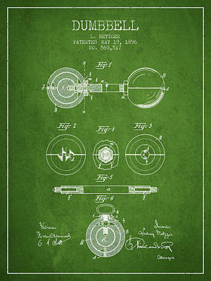 Weightlifting Wall Art - Digital Art - 1896 Dumbbell Patent Spbb03_pg by Aged Pixel