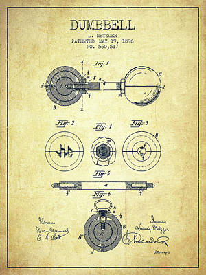 1896 Dumbbell Patent Spbb03_vn Art Print by Aged Pixel