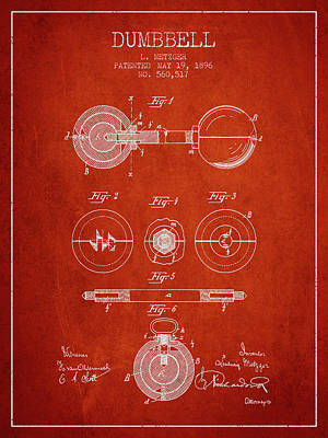 Weightlifting Wall Art - Digital Art - 1896 Dumbbell Patent Spbb03_vr by Aged Pixel