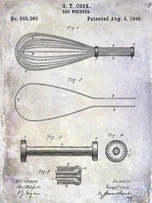 Beaters Photograph - 1896 Egg Whipper Patent by Jon Neidert