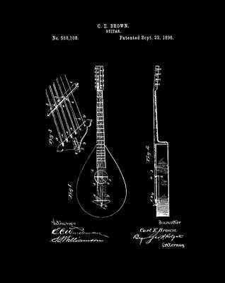 Rock And Roll Drawings - 1896 Guitar Patent by Dan Sproul