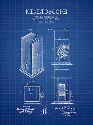 1896 Kinetoscope Patent - Blueprint Art Print by Aged Pixel