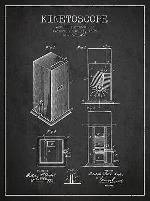 1896 Kinetoscope Patent - Charcoal Art Print by Aged Pixel