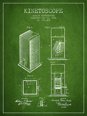 1896 Kinetoscope Patent - Green Art Print