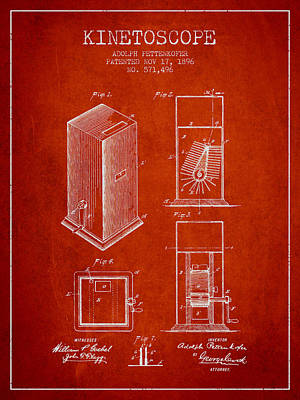 1896 Kinetoscope Patent - Red Art Print by Aged Pixel