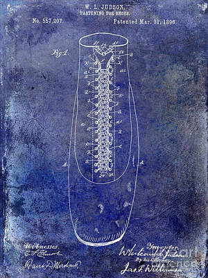 Vintage Shoes Photograph - 1896 Shoe Patent Blue by Jon Neidert