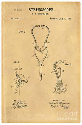 1896 Stethoscope Patent Art Sheppard 3 Art Print by Nishanth Gopinathan