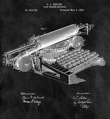 Author Mixed Media - 1896 Typewriter Patent Illustration by Dan Sproul