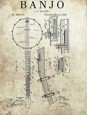 Musicians Drawings - 1897 Banjo Patent by Dan Sproul