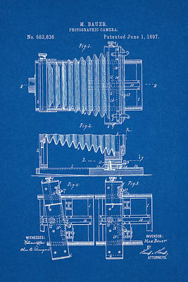 Digital Art - 1897 Camera Us Patent Invention Drawing - Blueprint by Todd Aaron